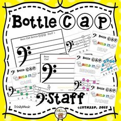 "Are you in need of bass clef resources? This ""hands on"" set makes a great learning center (or whole class) activity! Students select a card, read the word on the bass clef and then the group spells the word using clear water bottle caps. (Once school started last year the kiddos were bringing them in left and right!) Forty words are included (in color and in black and white.) Use the second staff (with a ledger line above and below) to help your students even more."