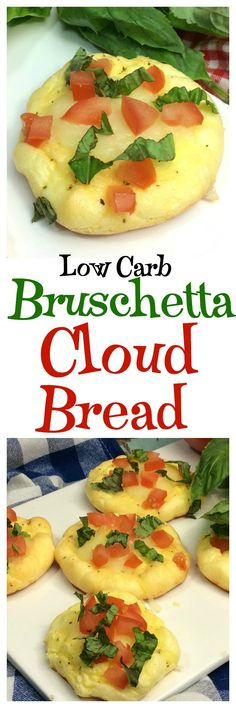 Delicious and easy Low Carb Low Carb Bruschetta Cloud Bread http://moscatomom.com/bruschetta-cloud-bread/