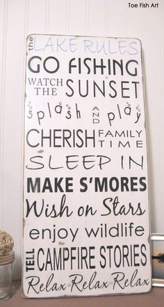 NEW -Lake House Cottage  Rules -Vintage Style- Typography Sign. $95.00, via Etsy.