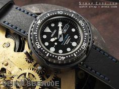 SEIKO Marlene master prof Robert-F-MARX limited SBBN00E on 22mm MiLTAT Pull Up Leather Black Watch Strap, Navy Hand Stitches [22E22BBU55C1A19]