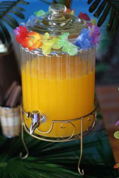 Tropical drinks at a luau birthday party! See more party ideas at CatchMyParty.com!