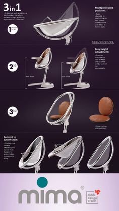 The mima moon: a 3-in-1 product - newborn lounger, high chair & junior chair