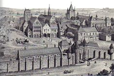 """L'enclos du Temple en 1450. L'église au centre est gardée par la """"Tour de César"""" et par le donjon, au fond, à droite, flanqué d'une cinquième plus petite. Il trônait à l'extrémité ouest de l'enclos qui renfermait, en outre, les bâtiments nécessaires à la vie monastique, des habitations réservées aux laïcs au service de l'Ordre et quelques jardins appelés """"coutures"""". L'ensemble était ceinturé d'une muraille qui lui donnait l'aspect d'une ville fortifiée (Histoire du IIIe, Ed. Hervas, Ph…"""