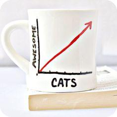 Chat génial Funny Mug café thé tasse diner mug par KnotworkShop, $14.00