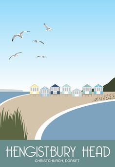 Hengistbury Head Beach Huts, Christchurch, Dorset. Railway Poster style Illustration drawn in the series by www.whiteonesugar.co.uk