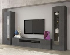 Daiquiri, modern TV cabinet and display units combination in anthracite gloss finish, optional lights