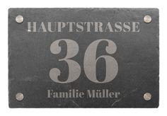 Hausnummer aus Schiefer mit Name und Straßenname 30 x 20 cm - Variante 3 - Hausnummern und Schilder online kaufen