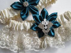 Coupon code: SHIP4FREE (valid until 2/28/14)  Ivory Wedding Garter Set Vintage Beaded by GibsonGirlGarters, $50.00