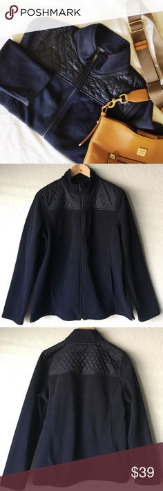 """Talbots navy fleece jacket Size L Like New. Quilted shoulder detail. Nice and warm fleece jacket with pockets. Size L. Shoulders 16""""; chest 22"""" Talbots Jackets & Coats"""