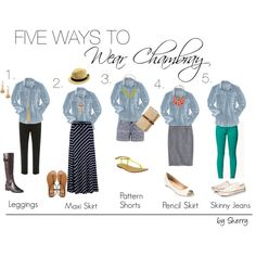 """Five Ways to Wear Chambray"" by thelifeoftheparty on Polyvore"