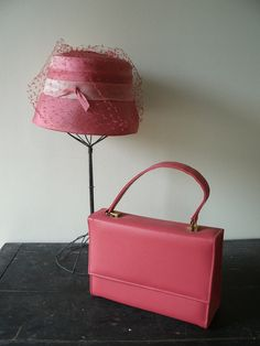 Vintage Ladies Hat & Purse Combo, Spring Fashion , Bright Pink , Spring Easter Hat with Handbag on Etsy, $29.00