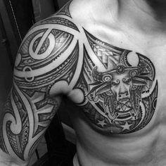 Tribal Half Sleeve And Chest Male Taurus Themed Tattoo Designs Half Sleeve Tattoos Lower Arm, Unique Half Sleeve Tattoos, Full Sleeve Tattoo Design, Half Sleeve Tattoos Designs, Arm Sleeve Tattoos, Tribal Tattoo Designs, Forearm Tattoos, Tribal Tattoos, Tattoo Sleeves