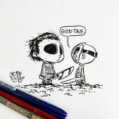 """3,277 Me gusta, 28 comentarios - skottie young (@skottieyoung) en Instagram: """"Good talk. #fridaythe13th #halloween #inktober #inktober2020 #dailysketch #jasonvoorhees…"""" 2d Character, Character Design, Skottie Young, Jason Voorhees, Friday The 13th, Halloween, Inktober, Snoopy, Fictional Characters"""