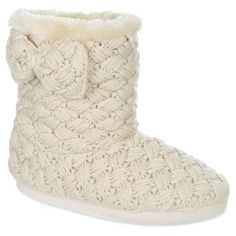 Women's Capelli® Bow Detail Woven Knit Bootie Slippers : Target