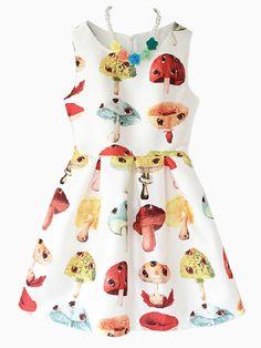 Mushroom Print Sleeveless Skater Dress | Choies