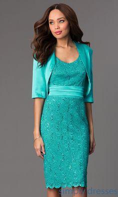 Dress, Sleeveless Knee Length Lace Dress with Matching Bolero - Simply Dresses