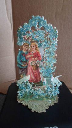 "Vintage Victorian die-cut fold out valentine Germany 7x3-3/4"""