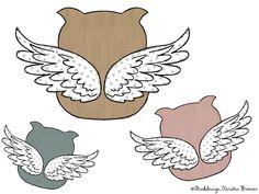 Engel Eulen Doodle Applikation Stickdatei. Little angel owl ♥  So cute! Doodle appliqué embroidery design for embroidery machines.  #sticken #eulenliebe #owllove