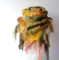 Click on this and look at it up close, it is just beautiful.  Nuno felted scarf  Green Yellow silk leaves by galafilc on Etsy, $87.00