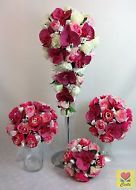Silk Flower Tomato Red Orchid L/Pink/White Roses Bridal Wedding Bouquet Set