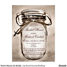 Rustic Mason Jar Bridal Shower Invitation POSTCARD Save on postage with these rustic country bridal shower invitations that are in postcard form. Just add your bridal shower details to the front, and your return address to the back. Rustic Mason Jar Bridal Shower Invitation Postcards. These are great for rustic country mason jar and canning jar themed bridal showers. This antique vintage canning jar design is perfect for a county wedding.