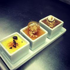 My Creme Brulee Trio - first dessert I designed on my dessert menu × [OC] Desserts Menu, Plated Desserts, Dessert Recipes, Pastry Art, Incredible Edibles, Restaurant, Dessert Bars, Food Presentation, Food Art