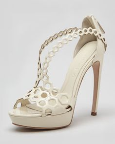X1N0G Alexander McQueen Double-Arched Honeycomb Patent Leather Sandal, Ivory