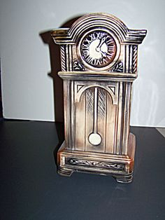 Tall McCoy Pottery Grandfather Clock Cookie Jar