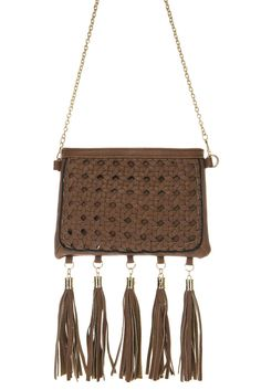 Braided And Fringe Accented Mini Messenger Bag With Chain Strap #GetEverythingElse #MessengerCrossBody