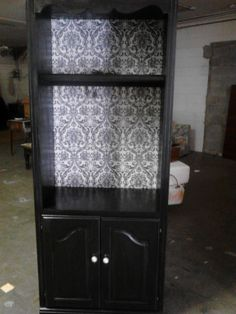 "Revamped bookcase with Southern Belle Decorative Paint in ""Black Shaggin' Shoes"""