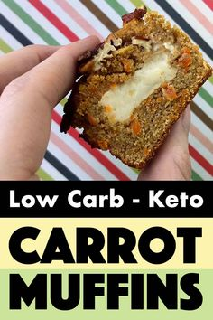 These low carb and Keto cream cheese filled carrot muffins are great snacks with just net carbs each. They are quick and easy to make and taste wonderful. And they are gluten-free and sugar-free to boot. Low Sugar Recipes, Healthy Low Carb Recipes, Low Carb Dinner Recipes, Low Carb Desserts, Low Carb Keto, Breakfast Recipes, Dessert Recipes, Diet Recipes, Breakfast Gravy