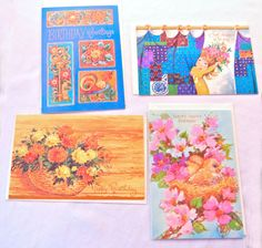 Bright Kitschy 70s Card Set of 4, Hippie Mod Blue Pink Orange Tones, Birthday Greetings, Famous Artists Studios Stationery