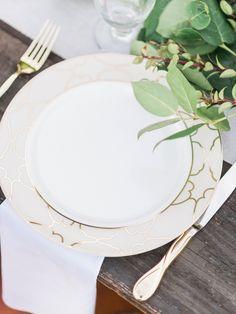 Organic green table runner with gold detailed dinnerware & Organic Outdoor Vineyard Rehearsal Dinner | Rehearsal dinners ...
