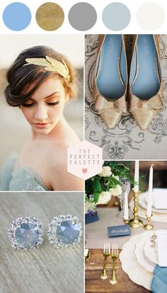 Dreamy Wedding Inspiration - www.theperfectpalette.com - Dusty Blue and Metallics