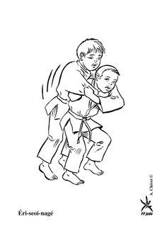 Coloriage de la prise de judo Eri-seoi-nage entre deux enfants