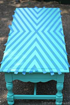 Geometric Coffee Table Makeover, http://hative.com/creative-diy-painted-furniture-ideas/