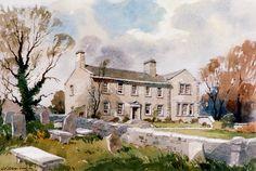 Haworth Parsonage Mike Bernard, James Watson, Building Illustration, House Art, Watercolours, Fairytale, Book Art, Buildings, Landscapes