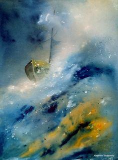 Título: Sobre brumas - Serie Abstractos marinos - Acrílico sobre madera (60x45cm) - San Luis, Argentina - Autora: Alejandra Etcheverry