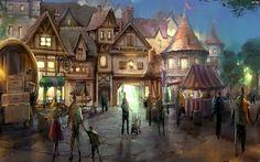 Fantasy town at night time 1473×918