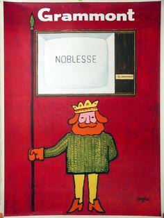 "Grammont Télévision by RAYMOND SAVIGNAC Noblesse Vintage 45.5"" x 62"" Excellent"
