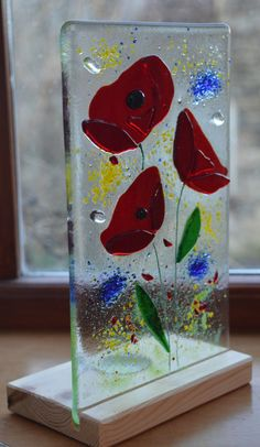 Fused Glass Poppy Panel With Stand Mum by AmandaPullinGlass