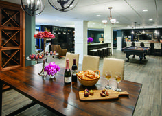 Invite friends and family over for a wine and cheese event, in this gorgeous gathering space from the Woodlands of Geddes Glen, in Michigan.