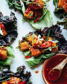 Tofu Lettuce Wraps, Tofu Wraps, Lettuce Wrap Recipes, Vegan Recipes Easy, Healthy Dinner Recipes, Vegetarian Recipes, Vegan Meals, Tofu Recipes, Asian Recipes