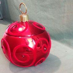 Teleflora Ceramic Metallic Ornament Red w Rhinestones Christmas Cookie Candy Jar | eBay