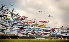 Time delayed photograph of take offs from a German airport