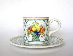 villeroy and boch basket pattern cups and saucers by ObjetsduMonde, $75.00
