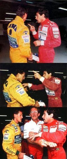 An upset Ayrton Senna discusses the finer points with Michael Schumacher. Real Racing, F1 Racing, Racing Team, Formula 1, F1 Wallpaper Hd, Wallpapers, F1 Motorsport, Nascar, Gilles Villeneuve