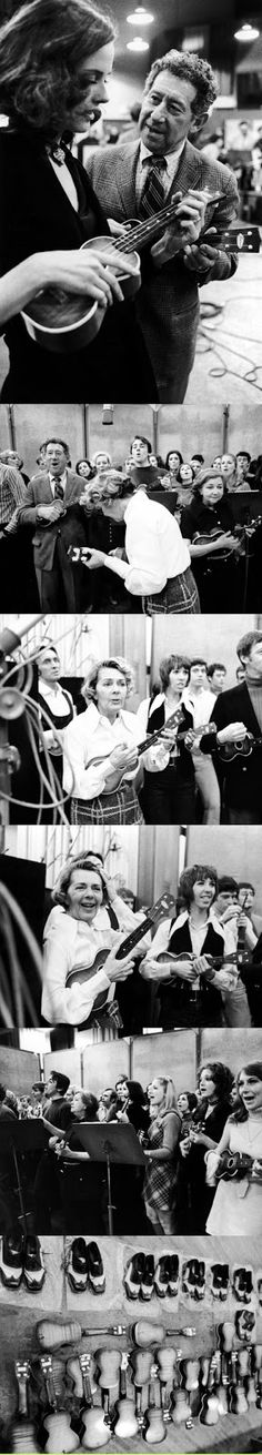 The Original Broadway Cast of No No Nanette with Jack Gilford and Ruby Keeler rehearsing with many ukuleles and fancy shoes