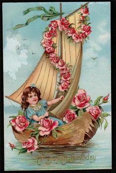 Antique Vintage GILDED VICTORIAN EMBOSSED BIRTHDAY Postcard