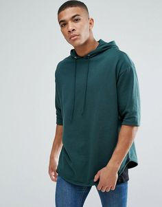 ASOS Oversized Longline Short Sleeve Hoodie - Green